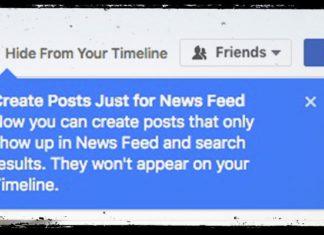 Facebook permette di nascondere il contenuto dal diario