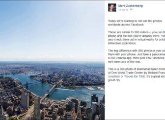 Arrivano su Facebook le foto a 360 gradi