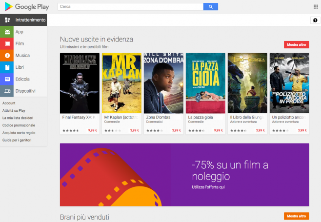 noleggio film google play 75%