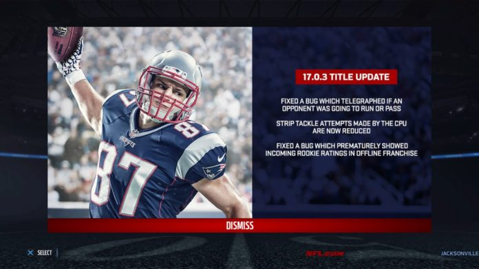 Madden NFL 17 patch su Xbox One e PS4