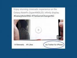 Samsung Tweet sul Galaxy Note 9 con iPhone