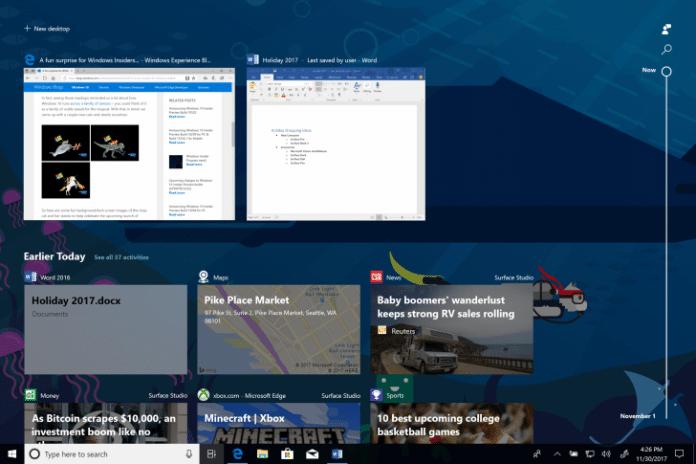 Web Activities Google Chrome Timeline Windows 10