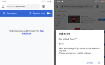 Browser Kiwi estensioni desktop su smarphone