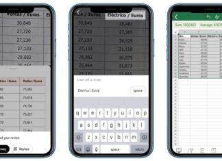 Creare tabella Excel con foto iOS