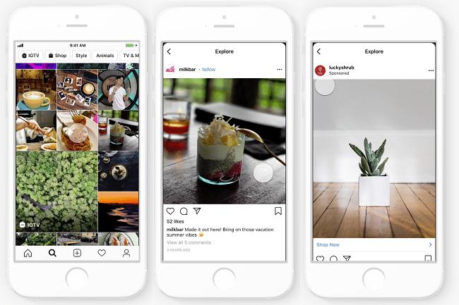 Instagram inserzioni pubblicità sulla tab esplora di ricerca