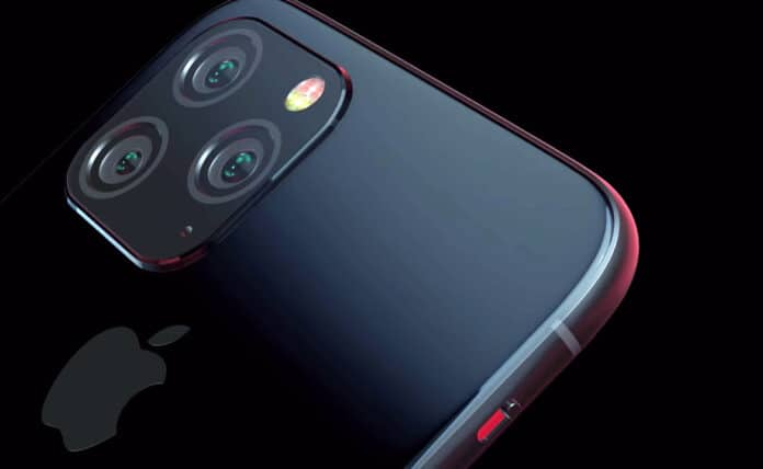 Logo Apple iPhone 11 al centro