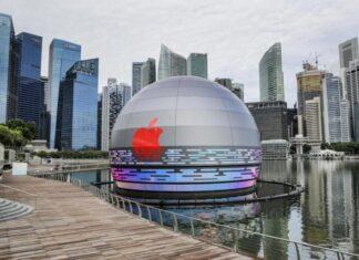 Apple Store Marina Bay Sands sfera in acqua